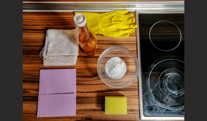 Eco-friendly products for cleaning a ceramic hob.