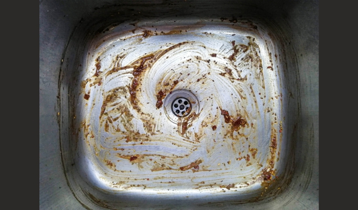 Dirty stainless steel sink